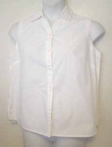 White Stag Stag Sleeveless Shell Shirt Casual 12 14 L Button Down Shirt White