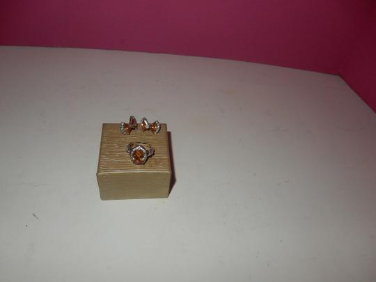 Other beautiful peach morganite PERICED EARRINGS AND RING SET,,,SZ 7 NEW! Image 1