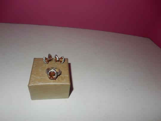 Other beautiful peach morganite PERICED EARRINGS AND RING SET,,,SZ 7 NEW! Image 2