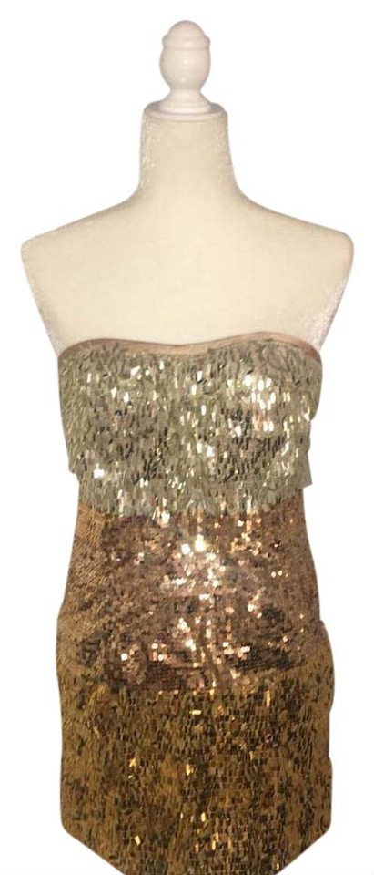 1aeaf97fd32 bebe Gold Sequin Short Cocktail Dress Size 4 (S) - Tradesy