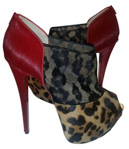 Christian Louboutin Red Leopard Black Black Red/Leopard/Black Lace Boots