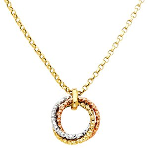 Top Gold & Diamond Jewelry 14K Tri Color Round Hanging Necklace - 17+1