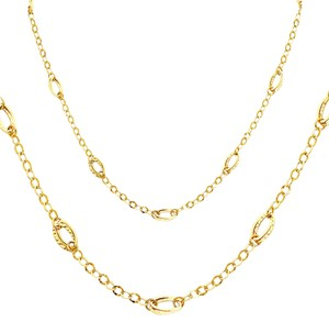 Top Gold & Diamond Jewelry 14K Yellow Gold Hollow Necklace - 17+1