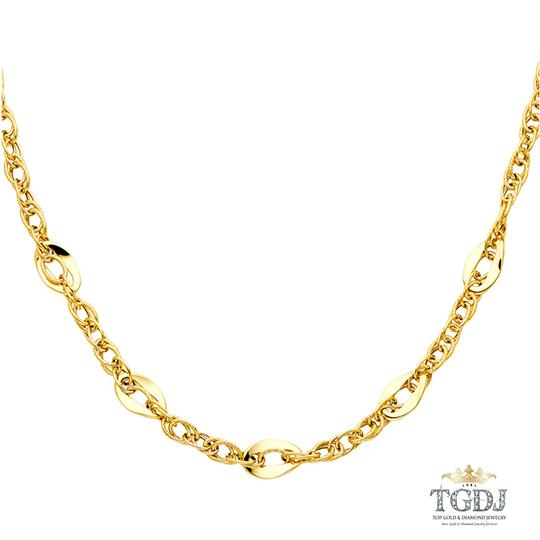 Top Gold & Diamond Jewelry 14K Yellow Gold Hollow Necklace - 18