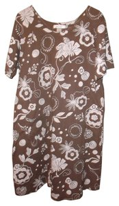 Fresh Produce short dress Brown with cream floral accents Knee Length Single Pocket on Tradesy