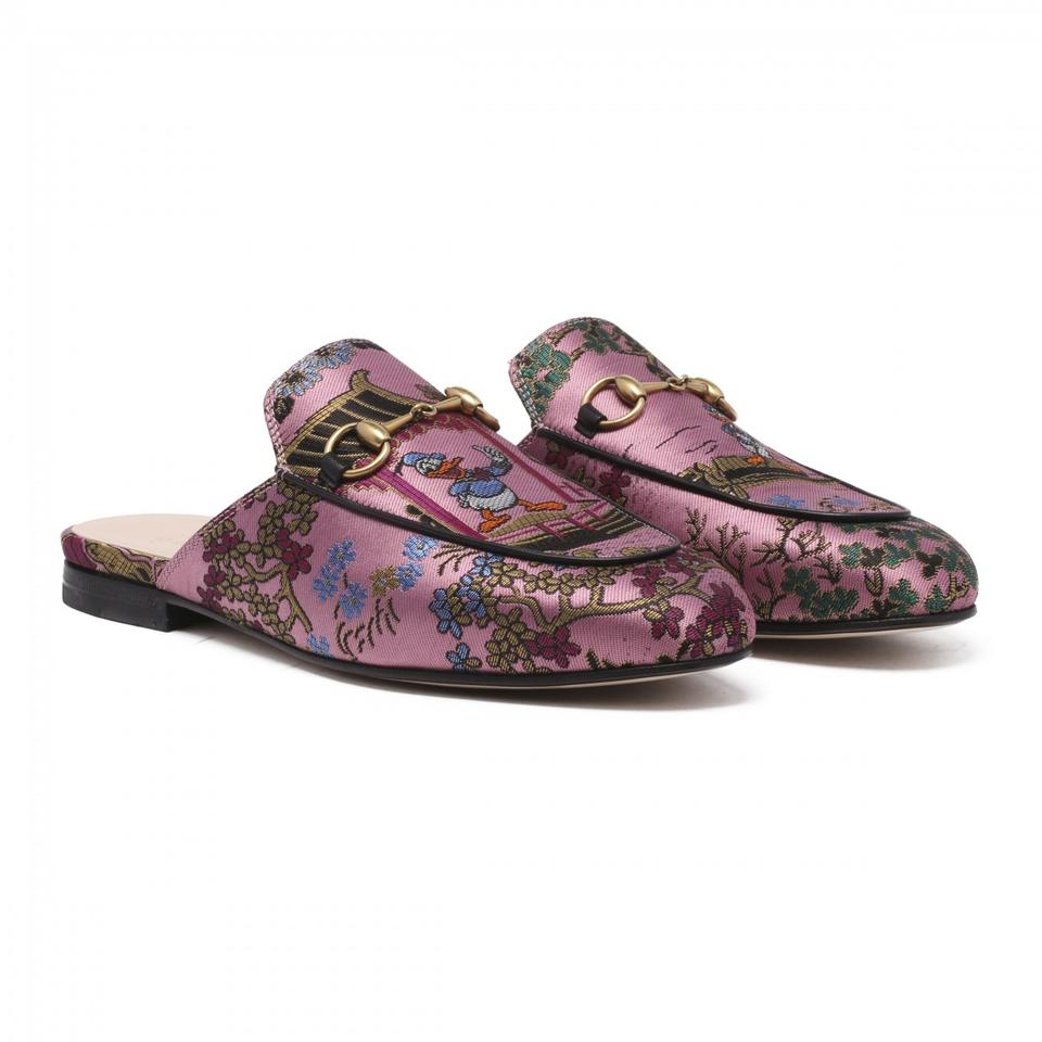 51d220886d0 Gucci Pink Princetown Jacquard Slipper with Donald Duck Multiple ...