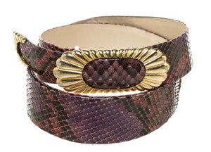 Judith Leiber Judith Leiber Purple Multicolor Snakeskin Gold Buckle Belt (Size 30)