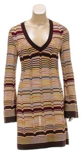 Missoni short dress Burgundy/Multicolor on Tradesy
