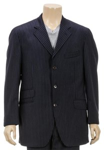 Etro Etro Navy Blue Pinstripe Button Front Jacket and Pant Suit (Size 56)