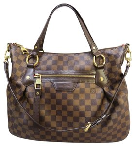 Louis Vuitton Lv Evora Canvas Damier Satchel in brown