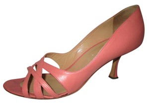 Edmundo Castillo Leather Open Toe pink Pumps
