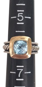 David Yurman petite blue topaz ring in 18k and sterling silver cable