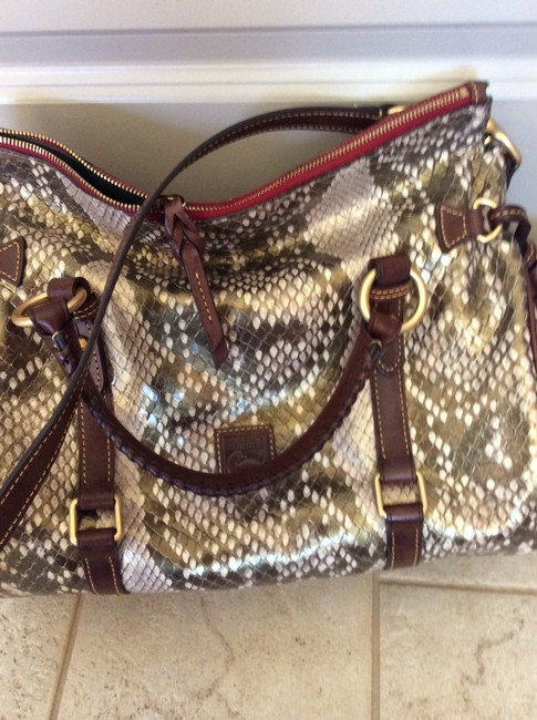 Item - Eclectic Brass Accents One Of A Kind Multi Snakeskin Leather Satchel