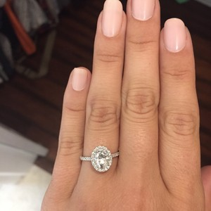 1.35 Carat Oval Moissanite & Diamond Halo Engagement Ring