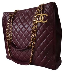 Chanel Vintage Gold Hardware Quilted Leather Luxury Tote in bordeaux