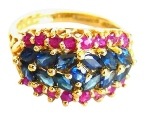 Other 14k Yellow Gold Red & Blue Marquis Sapphire Ring