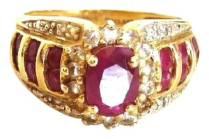 Other 14k Yellow Gold Diamond and Burmese Ruby Ring-Size 5