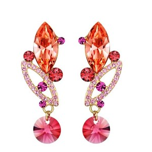 Other Made Using Swarovski Crystals Coral Pink Earrings S7