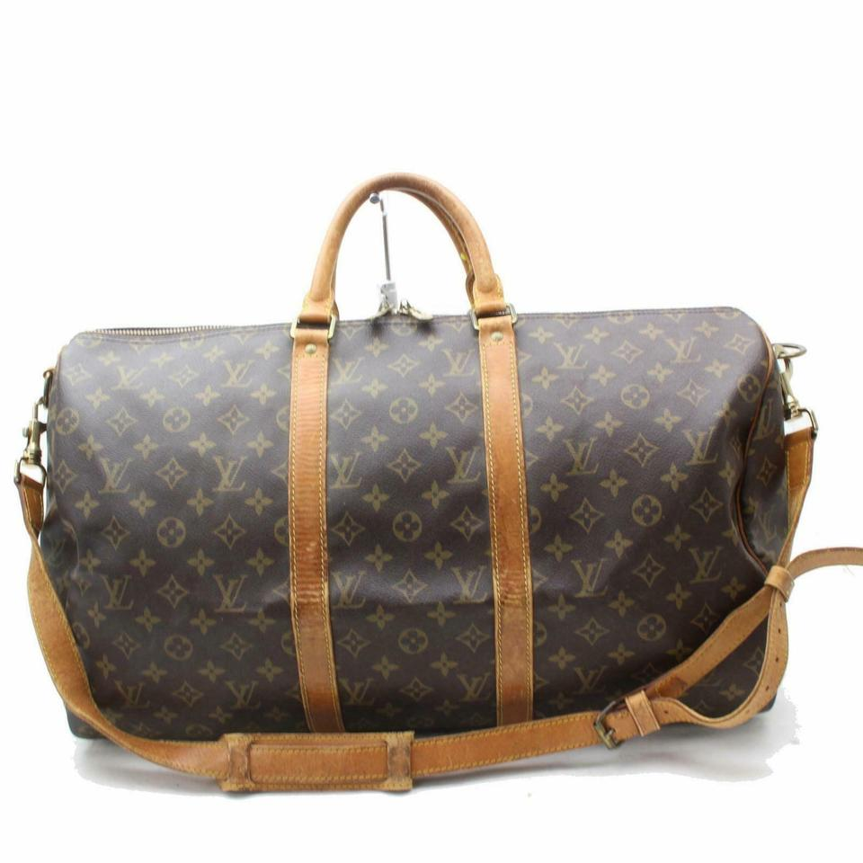 5ee81ad7018a Louis Vuitton Keepall 50 Neverfull Bandouliere Monogram Brown Travel Bag  Image 0 ...
