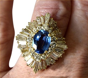 Other 14k Yellow Gold Ceylon Blue Sapphire & Diamond Ring