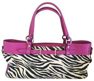 Adrienne Vittadini Satchel in Black and White & Hot Pink Leather