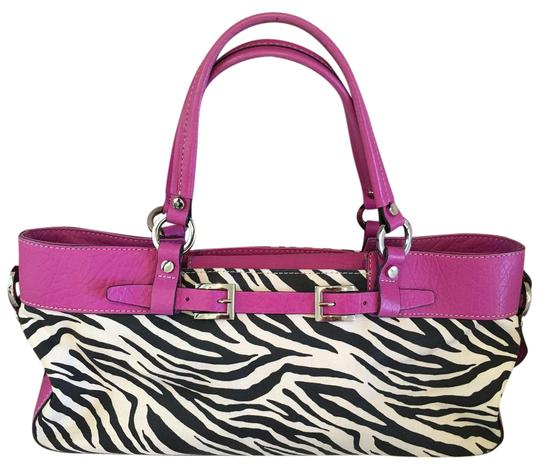 Preload https://img-static.tradesy.com/item/21083191/adrienne-vittadini-black-and-white-and-hot-pink-leather-canvas-satchel-0-1-540-540.jpg