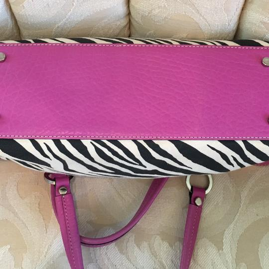 Adrienne Vittadini Satchel in Black and White & Hot Pink Leather Image 1