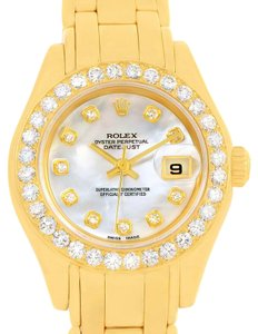 Rolex Rolex Pearlmaster 18K Yellow Gold MOP Diamond Dial Bezel Watch 69298