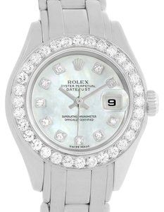 Rolex Rolex Pearlmaster 18K White Gold MOP Diamond Dial Bezel Watch 69299