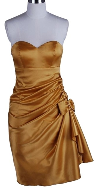 Preload https://img-static.tradesy.com/item/2108343/gold-strapless-bunched-bow-satin-short-cocktail-dress-size-22-plus-2x-0-0-650-650.jpg