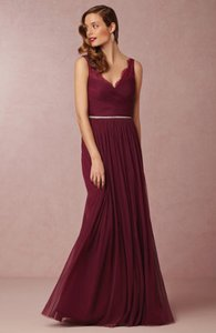 BHLDN Black Cherry Nylon Tulle Lace; Polyester Lining Fleur Feminine Bridesmaid/Mob Dress Size 2 (XS)