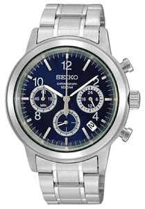 Seiko SSB005 Blue Dial Stainless Steel Chronographgraph Mens Watch