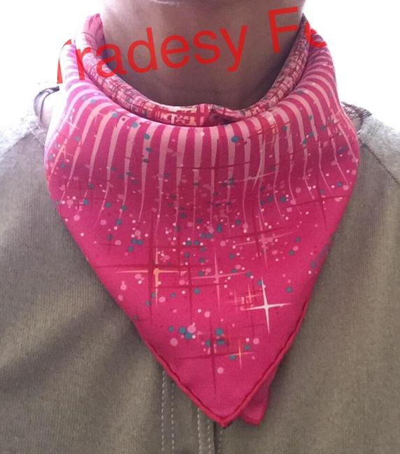 """Item - Pink and Multicolored Kelly """"Magic Kelly"""" Silk (Pochette) Pocket Square Scarf/Wrap"""