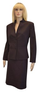 Tahari TAHARI WOMEN'S DESIGNER BROWN WOOL BLEND 2pc SKIRT SUIT SIZE 14 eti