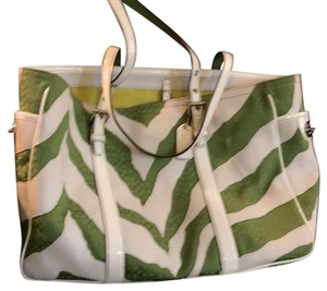Coach Tote in white and lime green