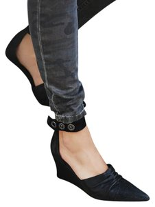 Free People Heels Ankle Strap Eclectic Black Wedges
