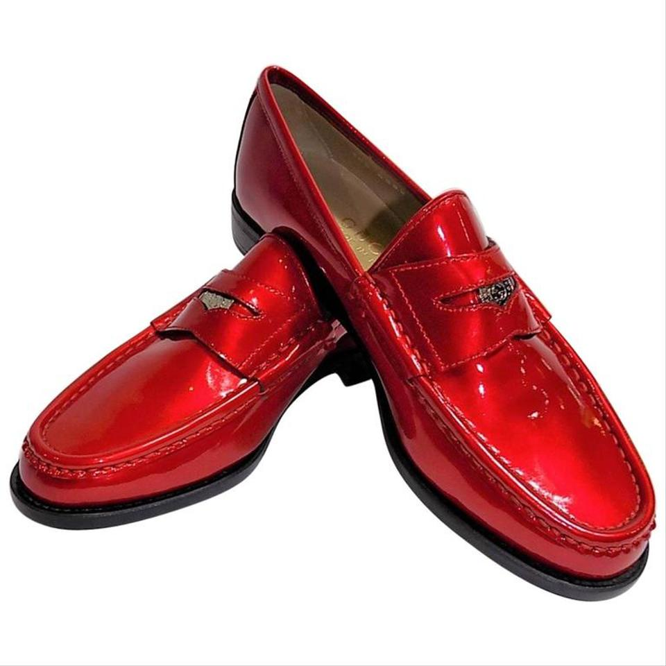 78b9496d40843 Gucci Red Rare Penny Loafers with Logo Penny Coin B Flats Size US 6 Regular  (M, B)