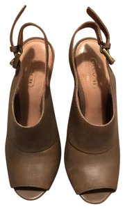 Coach Leather Platform Brown Sandals