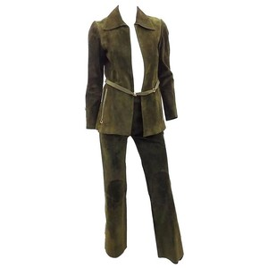 Gucci 1972 Vintage Gucci Leather Pant suit with Horsebit details RARE