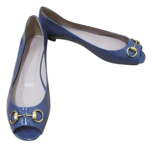 Gucci Open Toe Gold Horsebit Size 40.5 Brand New In Box Blue Flats
