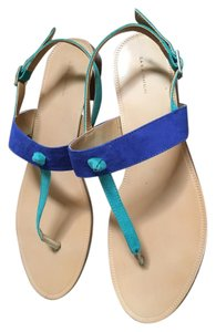 Zara Flats Royal Blue and Turquoise Suede Sandals