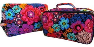 Vera Bradley FLORAL FIESTA LARGE COSMETIC AND BRUSH AND BLUSH MAKE UP CASE