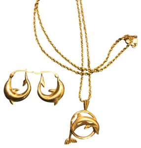 14K Gold Dolphin Pendant Neckace and Earrings 18
