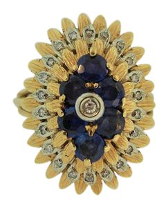Other Antique Sapphire And Diamond Flower Ring- 18k Yellow Gold