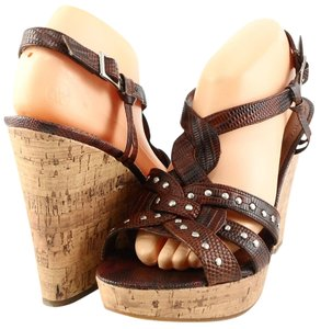 Enzo Angiolini Myra Platform Brown Wedges