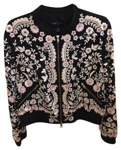 Needle & Thread Bomber Embroidered Beaded Embellished Floral Black, Pink Jacket