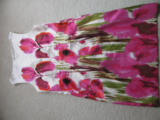 Jessica H. short dress Cream background with hot pink flowers on Tradesy
