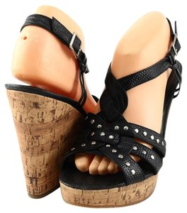 Enzo Angiolini Myra Brown Platform Black Wedges