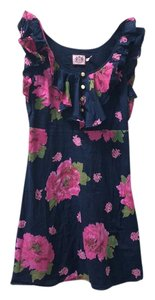 Juicy Couture short dress Navy Floral Ruffle on Tradesy