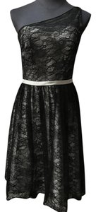 Allure Bridals Black/Platinum Lace and Satin 1350 Bridesmaid/Mob Dress Size 6 (S)